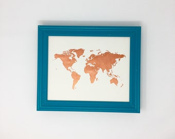 "World Map Painting - 8"" x 10"" - Copper"