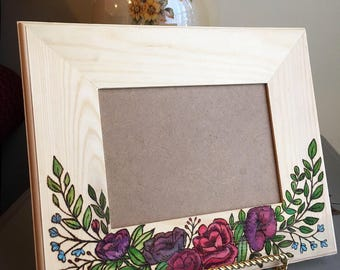 Wood burnt frame with watercolor florals