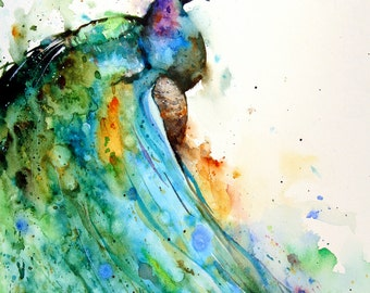 PEACOCK Watercolor Print,  Bird Art by Dean Crouser