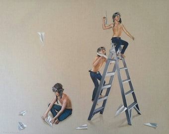 "Giclee Small Print of original painting ""Launch Pad"" of boys with paper planes and ladder"