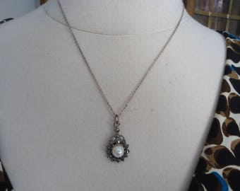 """Vintage Sterling Silver and Faux Pearl w/ Marcasite Pendant on 18"""" Sterling Chain"""
