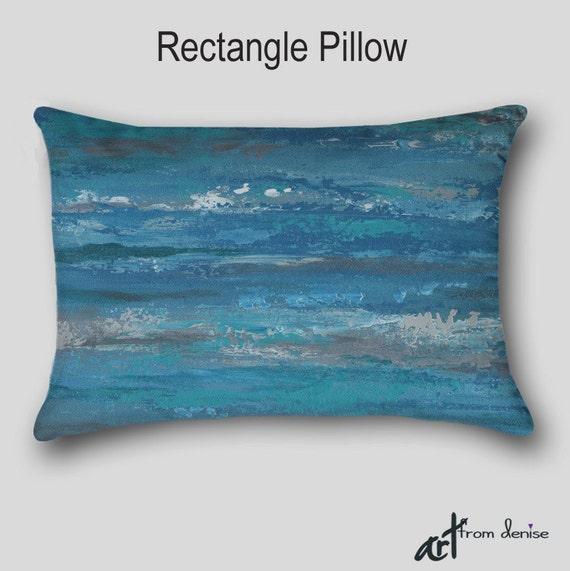 Designer throw pillow Teal blue home decor Turquoise Gray
