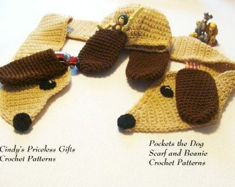PDF Pockets the Dog Beanie and Scarf Crochet Pattern