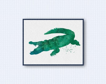 Alligator Crocodile Watercolor Poster