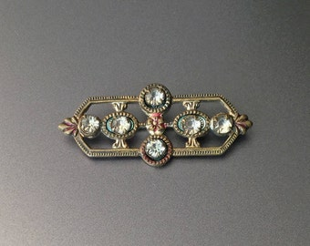Art Deco Bar Brooch with Prong Set Rhinestones - Red and Green Enamel