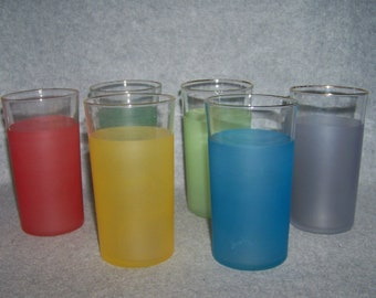 Vintage Frosted PastelTumblers with Gold Rim Water Juice Glass Set of 6