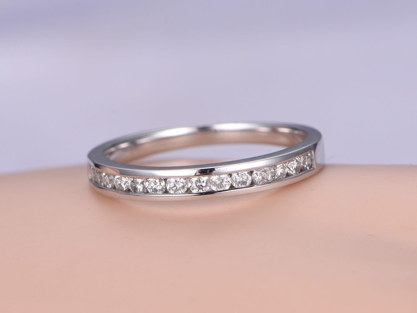 SI-H natural Diamond wedding band solid 14k white gold half