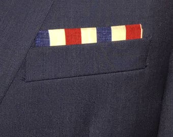 Pre-Folded Pocket square--Red, white and blue vertical stripes--Squares2go