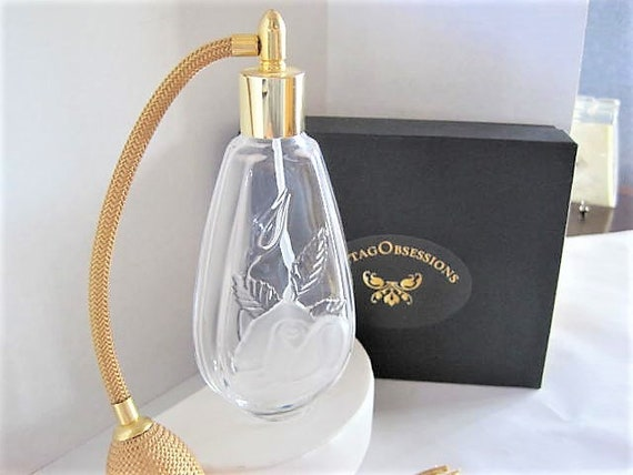 Cristal D'Arques Perfume Bottle, Made in France, Glass Atomizer, Gold  Bulb with long gold tassel,  60's cologne