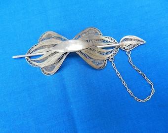 SILVER Filigree HAIR BARRETTE Antique Vintage Ponytail Clip Holder - Rare