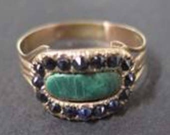 A Sapphire and Malachite Georgian Mourning Ring