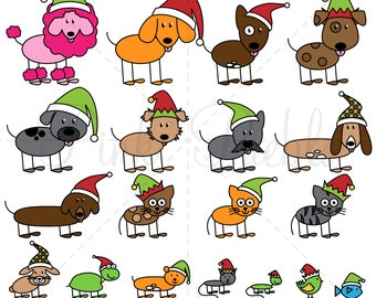 Christmas Stick Figure Pets Clipart Clip Art Vectors, Christmas Stick Family Clip Art Clipart Vectors - Commercial and Personal Use