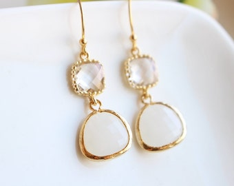 White and clear glass stone earrings in gold, Clear earrings, Bridesmaid jewelry, Bridesmaid gift, Wedding earrings