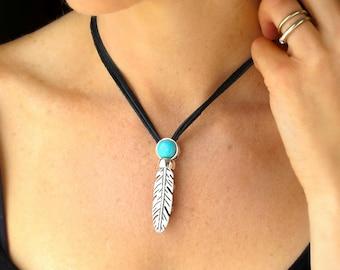 Boho Feather Necklace-Silver Feather Turquoise Pendant-Boho Women-Boho Jewelry Necklace-Turquoise Jewelry Silver-Leather Necklace for Women