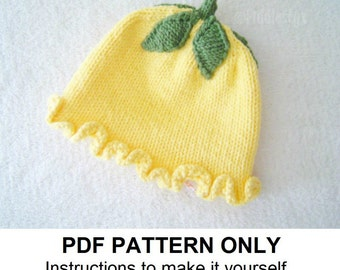 Knitting Pattern - Girl's Flower Hat Pattern - the EMILY Hat (Newborn, Baby, Toddler, Child & Adult sizes incl'd)