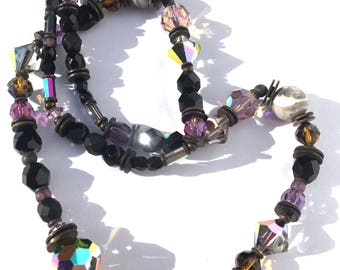 """24 Inch Jet, Amethyst and Smoke Topaz Czech Glass Art Deco Crystal Necklace, """"Counterforce"""""""