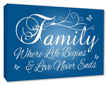 Family Wall Picture 'FAMILY Where Life Begins blue Wall Canvas A1/A2/A3/A4