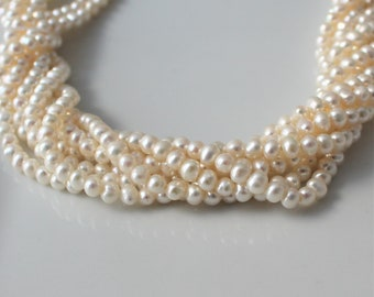 White Pearls Freshwater Pearls Off Round Pearl Ivory Pearls Cream Pearls Seed Pearl Genuine Pearl Potato Pearls 4mm  4.5mm Full Strand PP514
