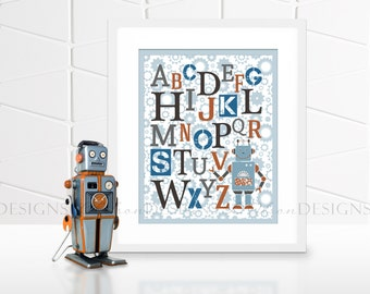 Robot ABC Nursery or Kids Room Wall Art - Blue - 8x10 - INSTANT DOWNLOAD
