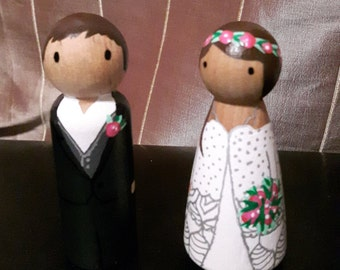 Wooden Peg Doll Cake Toppers
