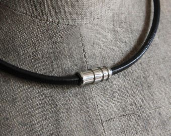 Mens Round Leather Cord Necklace, Mens Leather Necklace, Masculine Necklace, Magnetic Clasp Necklace, Mens Jewelry, Bullet Shaped Clasp