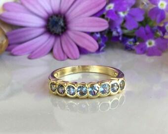 20% off-SALE!! Aquamarine Ring - March Birthstone - Stack Ring - Gemstone Ring - Simple Ring - Sea Foam Ring - Bezel Set Ring - Dainty Ring