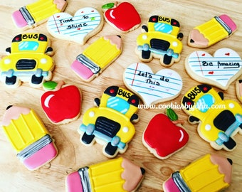 School cookies/school/teacher gifts/teacher/cookies/sugar cookies/ custom cookies/back to school/first day of school
