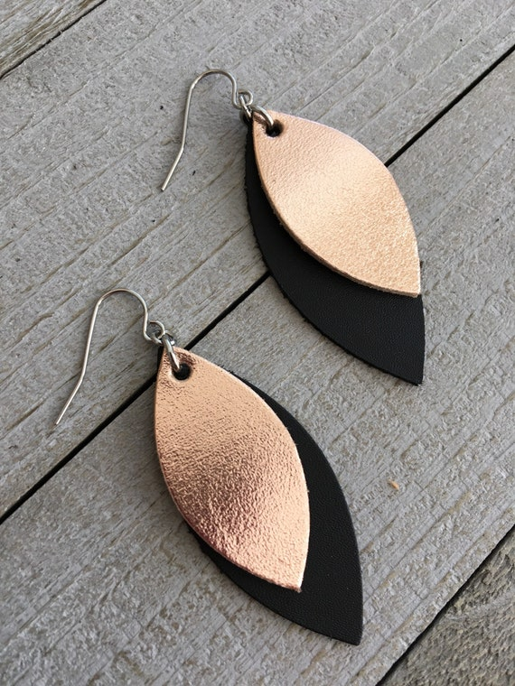 Rose Gold Metallic and Black Leather Leaf Earrings - Dangle Statement Earrings - Geometric Earrings - Gift for Her