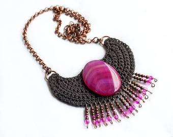 Crochet tribal necklace, Native inspired statement necklace, Agate necklace, african inspired fringe fiber neck piece, crochet pendant