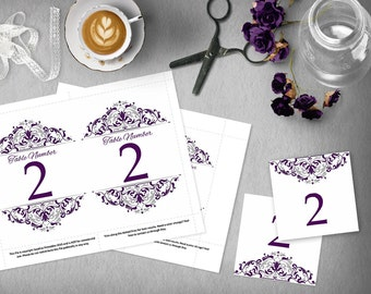 Purple Silver Wedding Table Numbers, 4x6 and 5x7 DIY Table Numbers, Wedding Template, Elegant Wedding, Tented Table Number, Plum, Eggplant