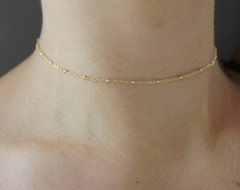 Dainty Gold Satellite Chain Choker Necklace - Layering Choker Necklace - Chain Choker - Minimalist Jewelry