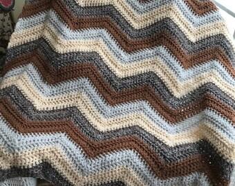 crochet chevron zigzag ripple baby toddler child blanket afghan wrap wheelchair stripes VANNA WHITE yarn adult lap robe brown beige boy girl