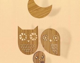 Owl Family - Bamboo Mobile