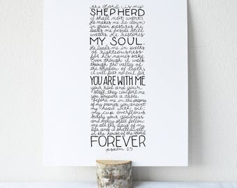Psalm 23 Printable Bible Verse Art Print 8x10 Digital Wall Art Gift