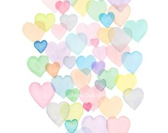 Watercolor hearts painting. Bubble hearts art print. Abstract rainbow pastel hearts. Bubbles modern art. Girls room nursery decor wall art.