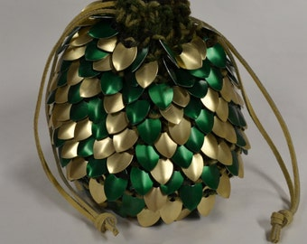 Golden Forest scalemail dice bag of holding in knitted Dragonhide