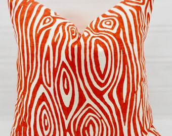 Orange Pillow Cover. Tangelo Willow  Print  Pillow cover. Orange  and white  Pillow Case. 1 piece.  cotton. Select your size