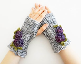 Rose Arm Warmers, Gray hand warmers, Hand painted merino wool, Rose hand warmers, Rose cuff, Grey merino wool, Grey Rose gloves