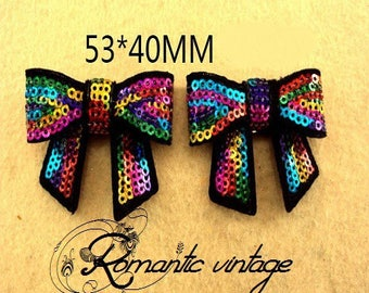 53 * 40mm; pretty transfer for fabric knots multicolored sequins
