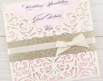 SAMPLE * Ruby Laser Cut with Glitter and Bow Wedding Invitation