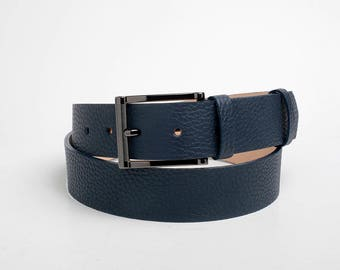 Leather Belt, Blue Leather Belt, Dark Blue Leather Belt, Navy Blue Leather Belt, Mens Belt