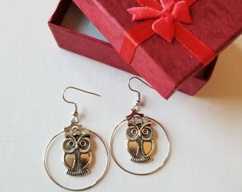 Owl earrings, Owl Jewelry, Owl lover earrings, Owl lover Jewelry, Animal earrings, Animal jewelry.