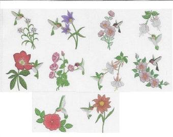 Embroidered  quilt blocks--Hummingbirds