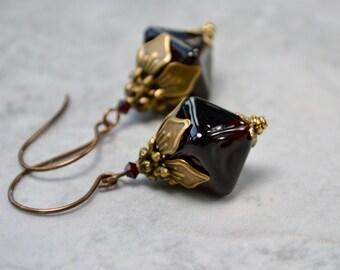 Topaz Lampwork Earrings, Vintage Style Brown Earrings, Glass Bead Jewelry, Antique Brass Large Earrings, Glass Drop Earrings, Gift for Wife