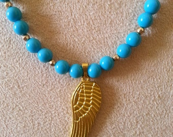 Turquoise Gold Necklace with feather charm