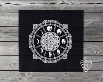 Moon Phases Compass Altar Cloth | Tarot Cloth | Divination Tool | Tarot Reading Cloth | Witchcraft | Full Moon | Witch Gift | Tarot Gift