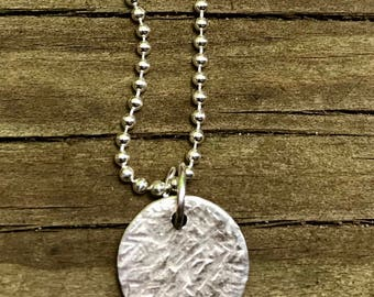 Hammered Sterling Silver Disc Necklace/Gift for Her/Coin Necklace/Medium Disc/Women Jewellery/Valentine's day gift