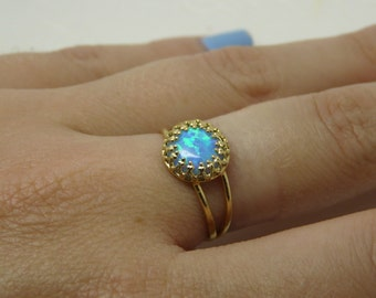 Opal ring, Gold Filled opal ring, Dainty ring, White opal ring, Opal jewellery, October birthstone ring