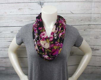 Floral Knit Infinity Scarf, Magenta and Olive Green Loop Scarf