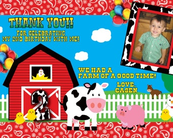 Farm Barnyard Thank You Card
